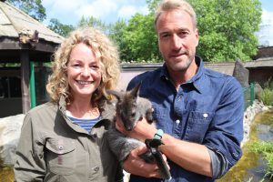 Kate Humble and Ben Fogle with Newt the Wallaby